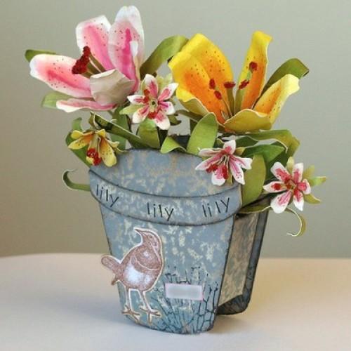 Chậu hoa Ly giấy xinh xắn và độc đáo